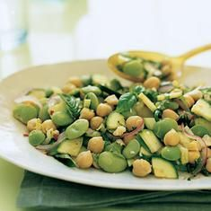 Lemony Zucchini, Chickpea Salad    I omit the lima beans and use a full can of chickpeas (washed). I also use my peeler for the cheese instead of cubing it. We LOVE this salad.