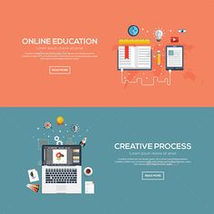 Buy Flat Designed Banners by on GraphicRiver. Flat designed banners for online education and creative process. Web Banner, Banners, Study Tips, Study Hacks, Concept Web, Banner Online, Flat Design Illustration, Clip Art, Illustrations