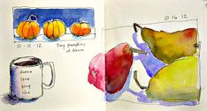 A Page in my Sketchbook These tiny pumpkins were sitting on the window sill in my studio and the early morning sky was very dark blue ...