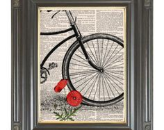Paris Bicycle art print on dictionary page COUPON by bmarinacci