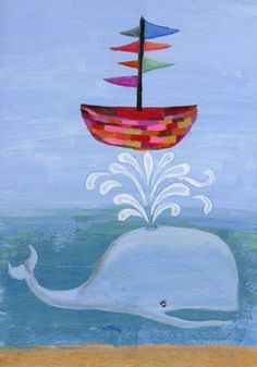 Whale Art Print of Original Painting Colorful Animal by coocoovaya Wall Prints, Framed Art Prints, Whale Art, Quirky Art, Colorful Animals, Happy Colors, Summer Art, Nursery Art, Art For Kids