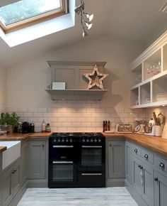Grey Kitchen Extension with Skylight Rustic Kitchen, New Kitchen, Kitchen Dining, Kitchen Decor, Kitchen Cabinets, Kitchen Grey, Kitchen With Black Appliances, Grey Cabinets, Kitchen Ideas