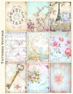 Romantic ATC Digital Download no.54 Victorian Graphics Antique Wallpaper Collage Sheet Tattered Vintage 54