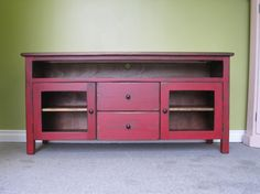 "Red TV Stand ,Wooden 60"" Long TV Console,Cottage Entertainment Center ,Media Sideboard,"