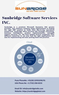 The Microsoft Dynamics AX 365 is a complete ERP system, with an integrated CRM system. Sunbridge is one of the most reliable Microsoft dynamics AX 365 partners in Minnesota  s. We have helped several organizations to implement a system that manages all their processes including finance, warehousing, trade & logistics, accounting, production, master planning, HR and CRM at one place. MS Dynamics AX 365 is a cloud-based application which is easy to implement and use as well. Project Methodology, Business Intelligence Solutions, Change Control, Enterprise Architecture, Crm System, Microsoft Dynamics, Customer Relationship Management, Cloud Based