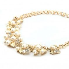 Simulated Pearl Leave Statement Necklace For Wome