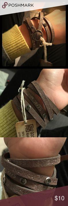 Suede Wrap Bracelet Light tan suede wrap bracelet. Never been worn! Good Works Jewelry Bracelets