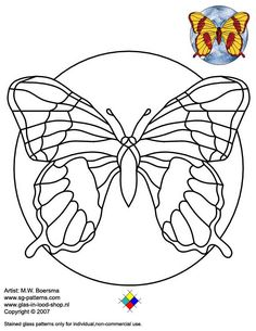 ★ Stained Glass Patterns for FREE ★ glass pattern 051 Butterfly ★