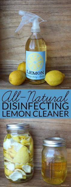 Lemon Infused Disinfectant Spray Cleaner - Make this two ingredient all-natural disinfecting spray cleaner to help protect your family from germs during cold and flu season. Green cleaning, non-toxic. Homemade Cleaning Products, House Cleaning Tips, Spring Cleaning, Cleaning Hacks, Diy Hacks, Cleaning Supplies, Green Cleaning Products, Green Cleaning Recipes, Natural Cleaning Recipes