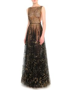 Cosmos-Embroidered Tulle Gown by Valentino at Bergdorf Goodman.