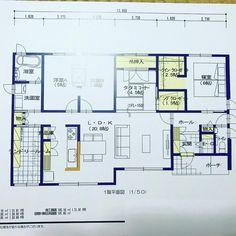 我が家の間取り(仮) 平屋のプラン 収納は大丈夫? 家事動線は? 和室は必要? 洗濯機は洗面所よりランドリールーム? 皆さまの意見下さい #平屋 #間取り #積水ハウス #住友林業 #一条工務店 #家事動線 #ランドリールーム House Plans, Floor Plans, Layout, House Design, Flooring, How To Plan, Architecture, Interior, Instagram