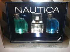 NAUTICA 3 PC SET EAU DE TOILETTE SPRAYS NEW IN GIFT BOX by NAUTICA. $27.99. 100% AUTHENTIC. NEW IN GIFT BOX. This is a Buy It Now for a Nautica 3pc Set.  Included in this gift set: -1 Nautica Classic Eau De Toilette Spray .5fl oz -1 Nautica White Sail Eau De Toilette Spray .5fl oz -1 Nautica Blue Eau de Toilette Spray .5fl oz Tear, Mason Jar Lamp, Sprays, Male Beauty, Liquor Cabinet, Perfume Bottles, Fragrance, Classic, Gifts