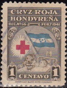 Honduras 1941 Scott RA3 Sello Cruz Roja Hondureña Madre