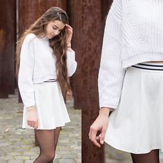 Get this look: http://lb.nu/look/8535563  More looks by Dominika K: http://lb.nu/dominikakosik  Items in this look:  She In  Sweater   #casual #minimal #street #winter #skirt #white