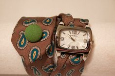 DIY necktie watch!     Could use a snap or buttons?