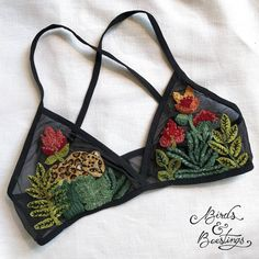 Embroidered bralette by Birds & Beestings #embroidery