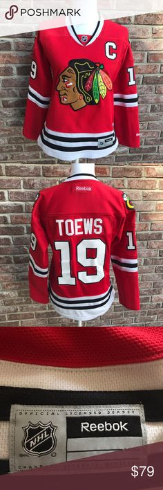 Reebok Official Women's Chicago Blackhawks Jersey Reebok Official Women's Chicago Blackhawks Jersey-Jonathan Toews. Size Women's Medium. EUC. Only sign of wear is a few snags. Just selling because it's too small for me. Smoke free home. Reebok Tops