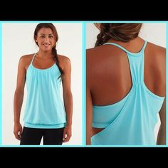 Lululemon No Limits Tank Teal tank with a teal, gray, and white space dye bra. Size 6, bra liners not included. Only worn once. No trades. lululemon athletica Tops Tank Tops