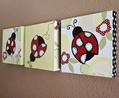 Ladybug Nursery Art, Red Black White Yellow Green, Custom Painted Canvas Set of… Ladybug Room, Ladybug Nursery, Painting For Kids, Painting & Drawing, Art For Kids, Canvas Wall Art, Painted Canvas, Hand Painted, Nursery Art