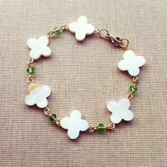 Mother of Pearl Clover Flower Good Luck by lowelowejewelry on Etsy, $12.00