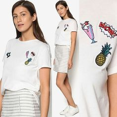 Decorative Patches T-Shirt by MANGO  #tshirt #patches #patch #tee #fashion #cute  #whatwelikeshop
