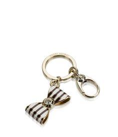 Bendel Bow Stripe Key Fob - Designer Key Fobs - Key Chains for Women