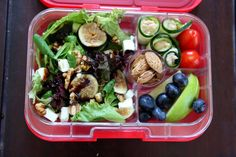 Keeping it light with salad with feta cheese, walnuts and sliced figs; green apple slices, blueberries; zucchini rolls stuffed with white bean dip and baby tomatoes. For a little snack dessert roasted almonds from Spain. Yumbox Panino.