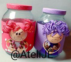 Foam Crafts, Diy And Crafts, Arts And Crafts, Paper Crafts, Glass Jars With Lids, Bottles And Jars, Mason Jar Mixes, Mason Jars, Decoupage Jars