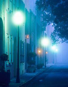 Morning fog, Elliott Street, Charleston, South Carolina by Doug Hickok