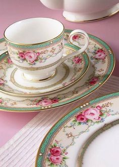 Shabby Chic Plate, Cup and Saucer, Pink Roses with Green Band