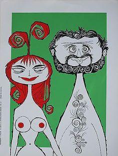 VINTAGE Original Beatnik Era Party Poster Rolly Crump 1961 Eve and ...