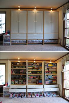 playroom cabinets TUNHEM cabinets from IKEA. The perfect storage solution for the formal living room, which we've made into a playroom for the kids. Fast clean up, close the doors, and the room is presentable and ready to be used for new activities. Basement Remodeling, Basement Ideas, Basement Designs, Basement Plans, Playroom Ideas, Remodeling Ideas, Basement Kitchen, Basement Apartment, Playroom Design