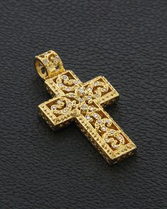 Χειροποίητος Σταυρός Κ18 με Διαμάντια Or Antique, Antique Jewelry, Bold Rings, Christian Symbols, Cross Jewelry, Gold Cross, Crucifix, Cross Pendant, Fine Jewelry