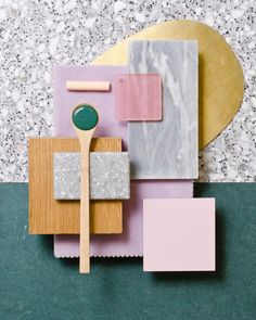 Weekly material mood Forest Green soft purple and brass. brass terrazzo darkgreen oak velvet purple acrylic pink greymarble pastels grey colour design material mood moodboard studiodavidthulstrup via. Soft Purple, Pink And Green, Pink Grey, Colour Schemes, Color Patterns, Colour Palettes, Mood Board Interior, Interior Ideas, Ecole Design