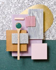 Combinaciones de color, rosa y verde