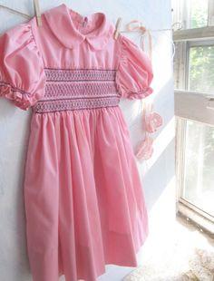 Vintage Baby Dress Smocked Pink Childs Dress by mailordervintage