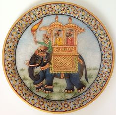 Indian Maharaja 9″ Marble Plate Art Handmade Floral Elephant Home Decor Painting Elephant Home Decor, Elephant Art, Mughal Paintings, Indian Paintings, Indian Decoration, Indian Traditional Paintings, Rajasthani Art, Indian Illustration, Elephant Pictures