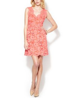 V neck fit and flare lace dress