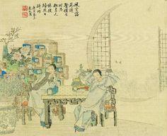 Wu Youru (? – 1893),Scènes de la vie féminine. Encre et couleurs sur soie – 1890. H. 28cm – L. 34cm © Musée de Shanghai