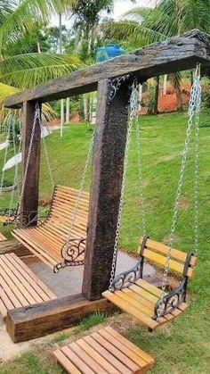 Backyard Swings, Backyard Landscaping, Pallet Swings, Outdoor Swings, Outdoor Bars, Porch Swings, Backyard Projects, Outdoor Projects, Wood Projects