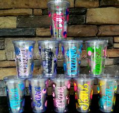 Set of 10 Custom Personalized Tumblers Brightly Colored Names Polka Dots Fun Birthday Gift Teen Kids Party Favor Bachelorette Vacation on Etsy, $140.00