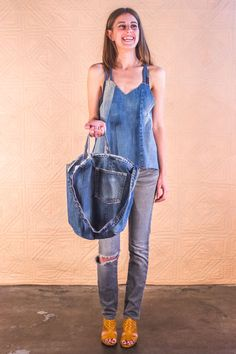 Lined Tote #SilkDenim #women's fashion #upcycle denim #vintage #denim #one-of-a-kind