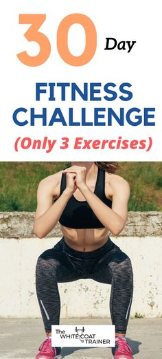Get ready for this extremely simple 30 day fitness challenge you can do from home. It only includes 3 exercises but it will train your full body, including, abs, arms, quads. What are you waiting for? It will only take 30 minutes a day. Fit Board Workouts, Easy Workouts, At Home Workouts, 30 Day Fitness, Fitness Diet, Fitness Facts, 30 Day Workout Challenge, Body Weight Training, Workout Regimen