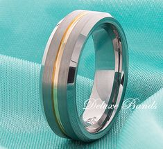 Tungsten Wedding Ring,7mm,Yellow Gold Inlayed Tungsten Wedding Band,Brushed Tungsten Band,Beveled Edges,Anniversary Ring,Mens Tungsten Band