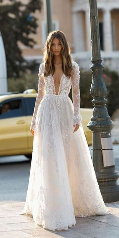 """If the words """"gorgeous long sleeve wedding dress"""" set your heart racing, you're in for a treat. Find your perfect long-sleeve wedding dress! Lace Wedding Dress With Sleeves, Bridal Wedding Dresses, Dream Wedding Dresses, Lace Sleeves, Wedding Lace, Winter Wedding Dresses, Bridesmaid Dresses, Wedding Dressed With Sleeves, Lace Weddings"""