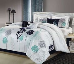 Black White Bedding Sets Ideas – Decorating Ideas - Home Decor Ideas and Tips Grey And Teal Bedding, Black White Bedding, Blue Comforter Sets, Navy Comforter, College Comforter, Aqua Bedding, Luxury Bedding Sets, Bed Sets, Vintage Decor