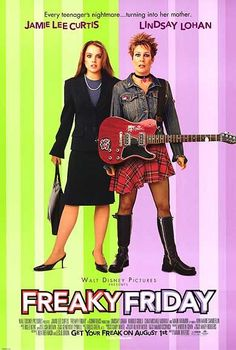 This Disney film poster for Freaky Friday is a different style to what you'd normally expect from Disney. I think they have targetting teens in this design, succeeding also. The imagery used gives hints to the film and title, showing the mother and daughter wearing the opposit outfits. The background suggests a hypnotising sense which also suggests a hint. I think this is a clever, modern film poster design that doesn't give off too much but will enable the public to want to see it.