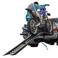 Easily load your motorcycle with our 8' motorcycle ramp kit. Despite its low price, this arched ramp features durable steel rungs and non-scratch rubber fingers.