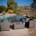angelo:HOME Napa Estate Summer Cocoa Brown Wicker Indoor/ Outdoor 4-piece Set | Overstock.com