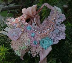 OOAK Shabby chic bead embroidered statement by KingaDesign on Etsy